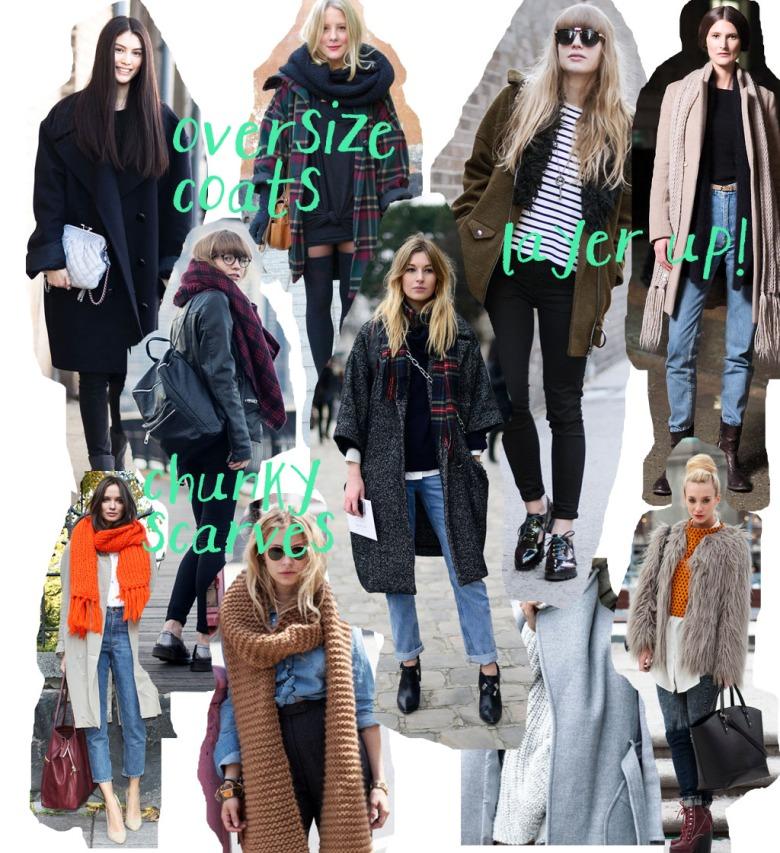 oversize, coats, sleek, chunky scarves, fluffy coats, layering, london look, winter style, fashion